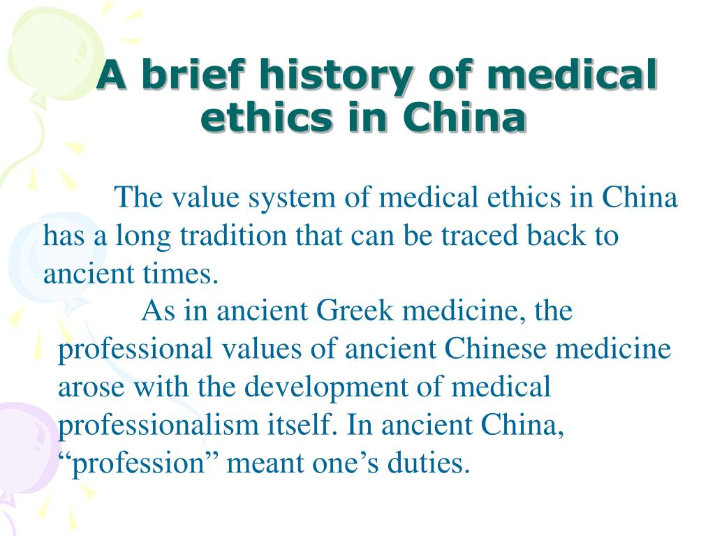 A brief history of medical ethics in China