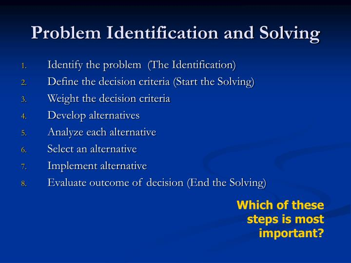 Problem Identification and Solving