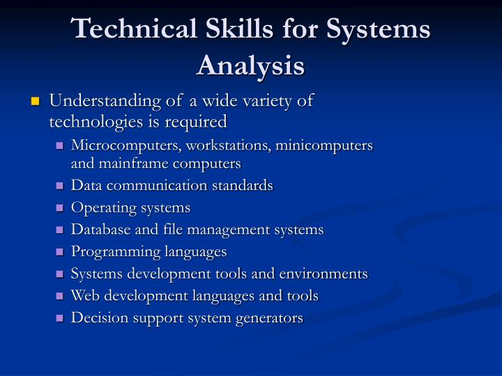Technical Skills for Systems Analysis