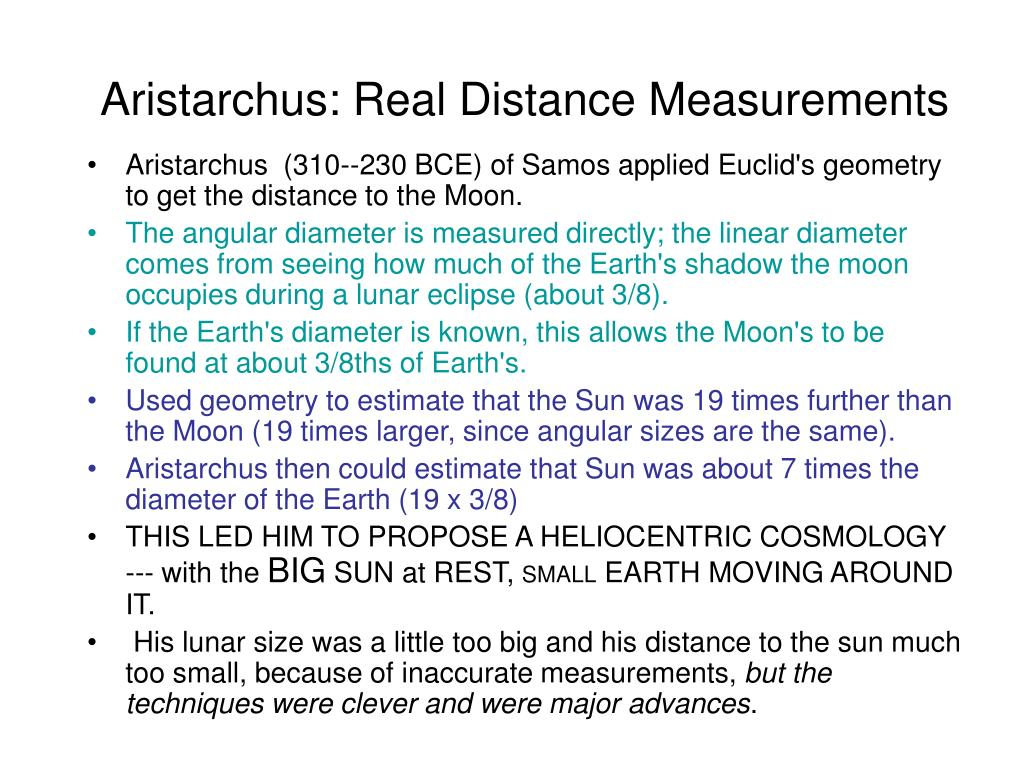 Aristarchus: Real Distance Measurements