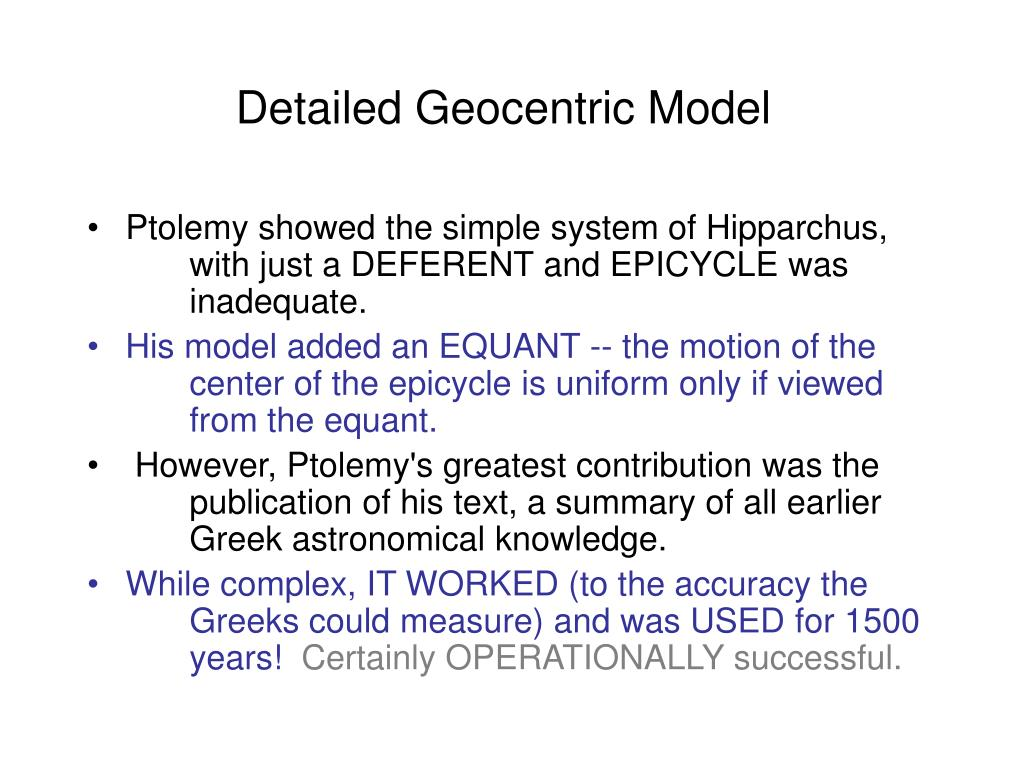 Detailed Geocentric Model