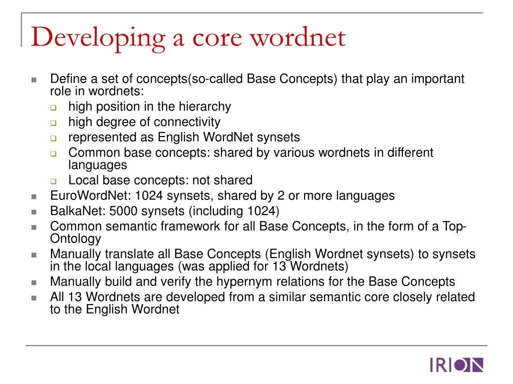 Developing a core wordnet