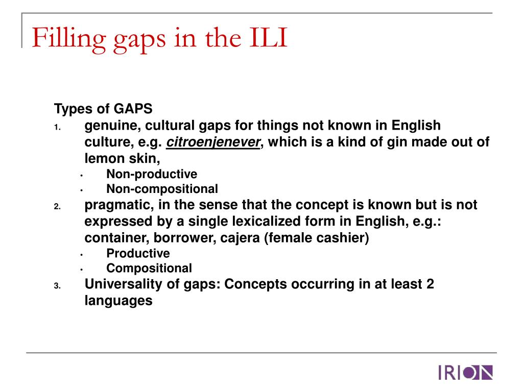Filling gaps in the ILI