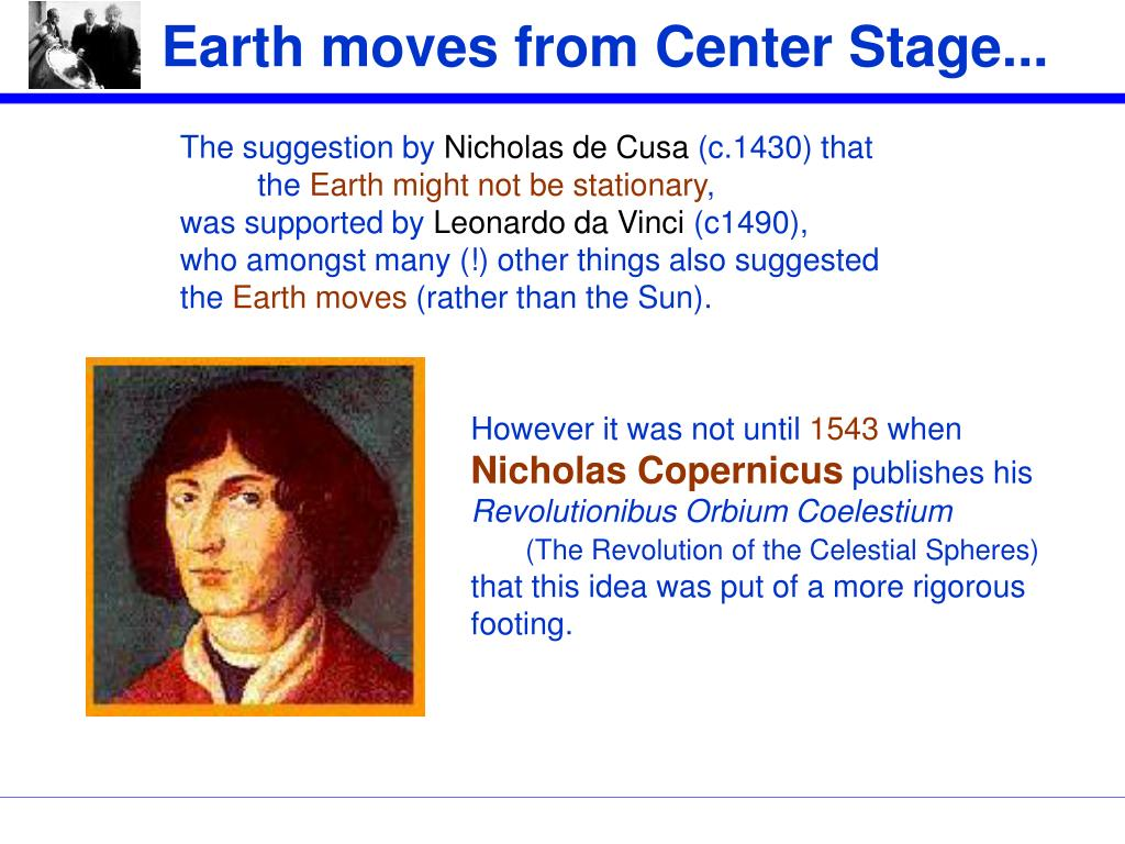 Earth moves from Center Stage...