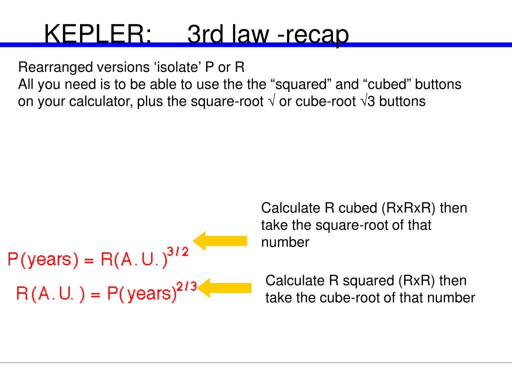 KEPLER:     3rd law -recap