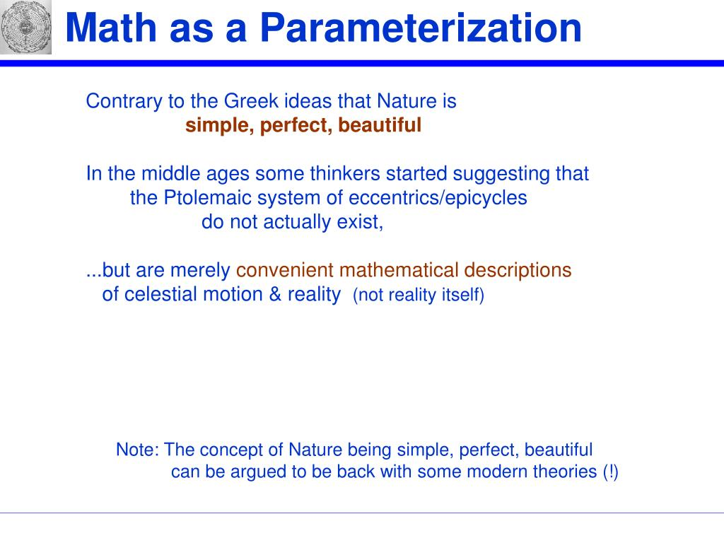 Math as a Parameterization