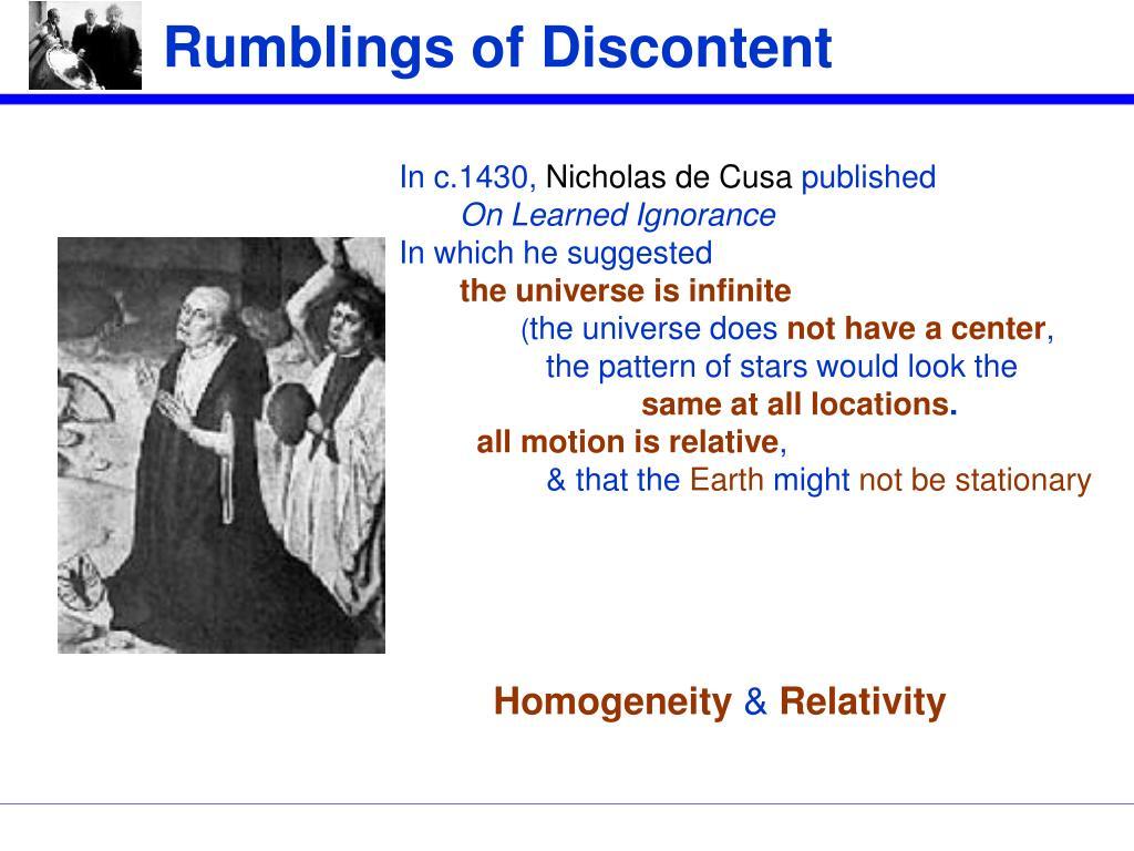 Rumblings of Discontent