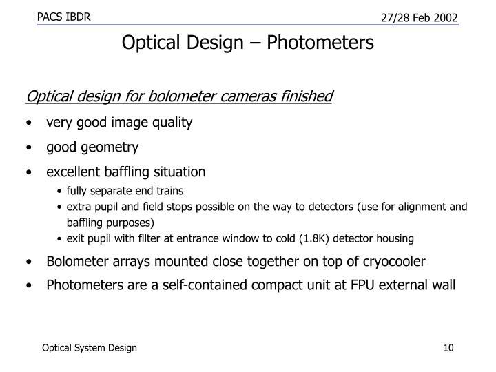 Optical Design – Photometers