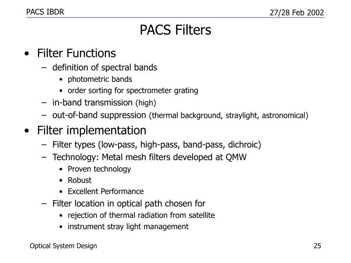 PACS Filters