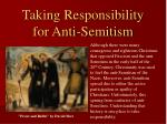 taking responsibility for anti semitism