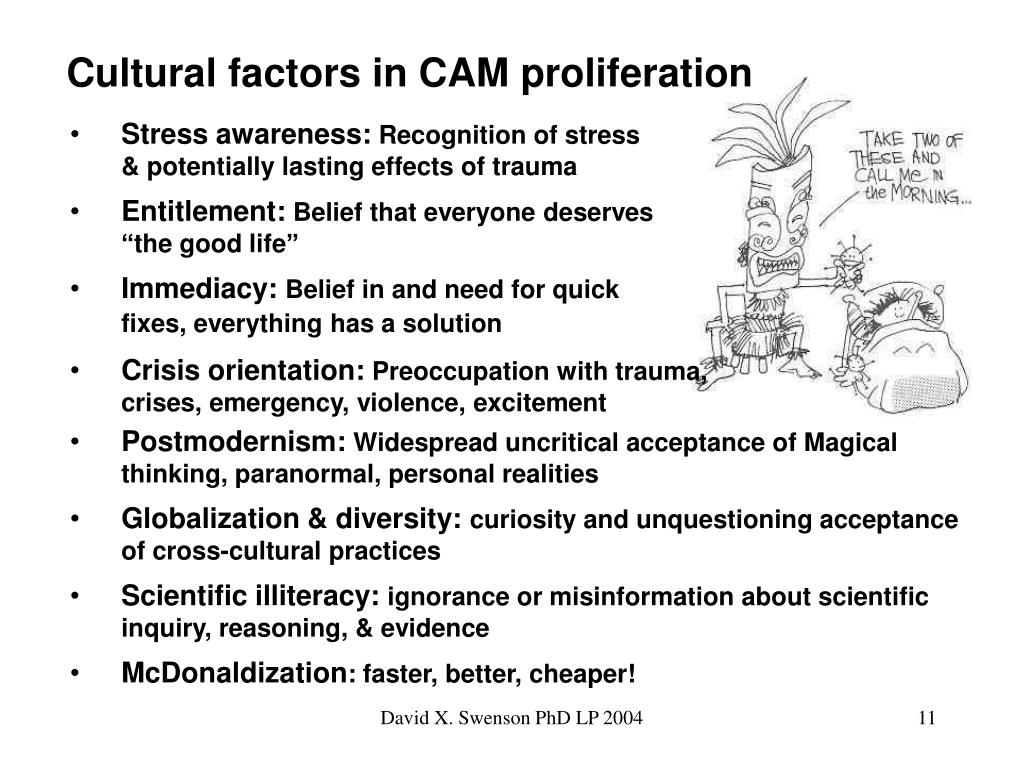 Cultural factors in CAM proliferation