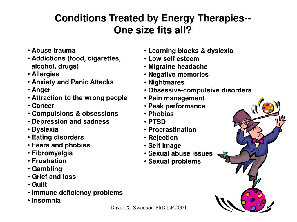 Conditions Treated by Energy Therapies--