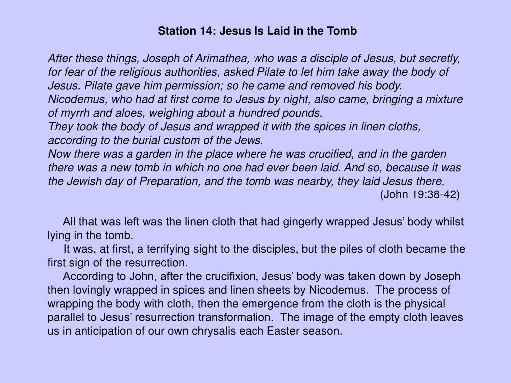 Station 14: Jesus Is Laid in the Tomb