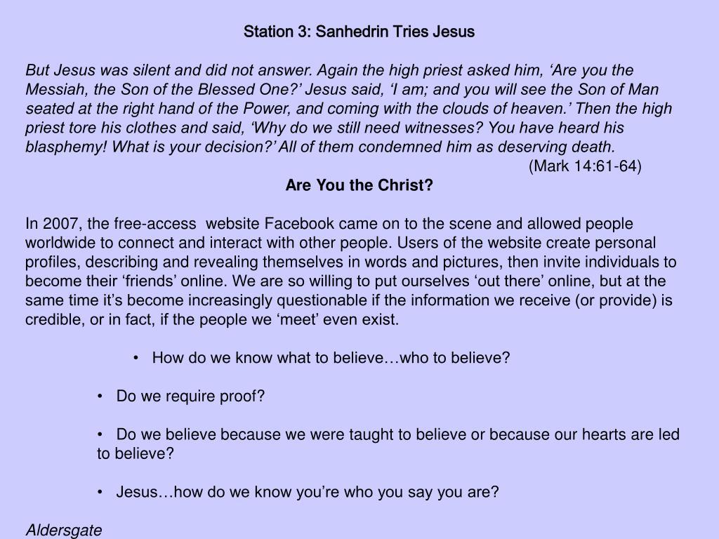Station 3: Sanhedrin Tries Jesus