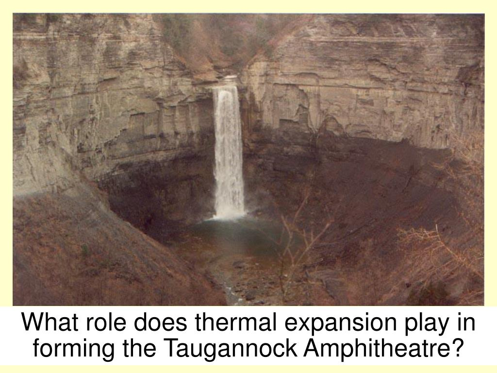 What role does thermal expansion play in forming the Taugannock Amphitheatre?