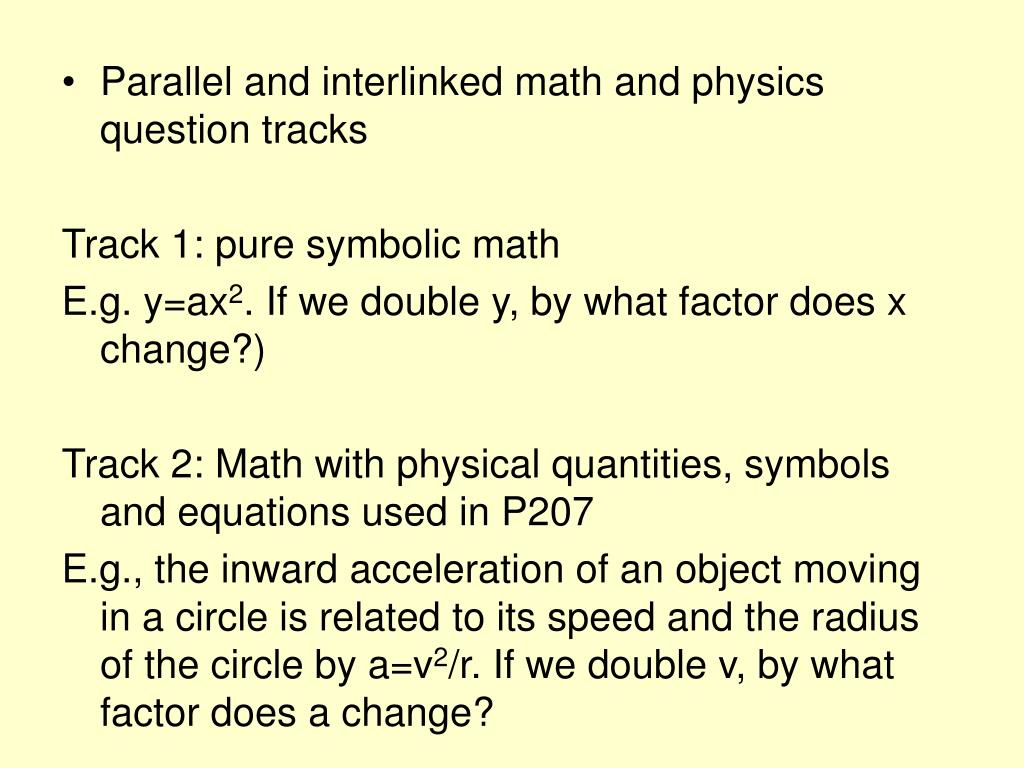 Parallel and interlinked math and physics question tracks