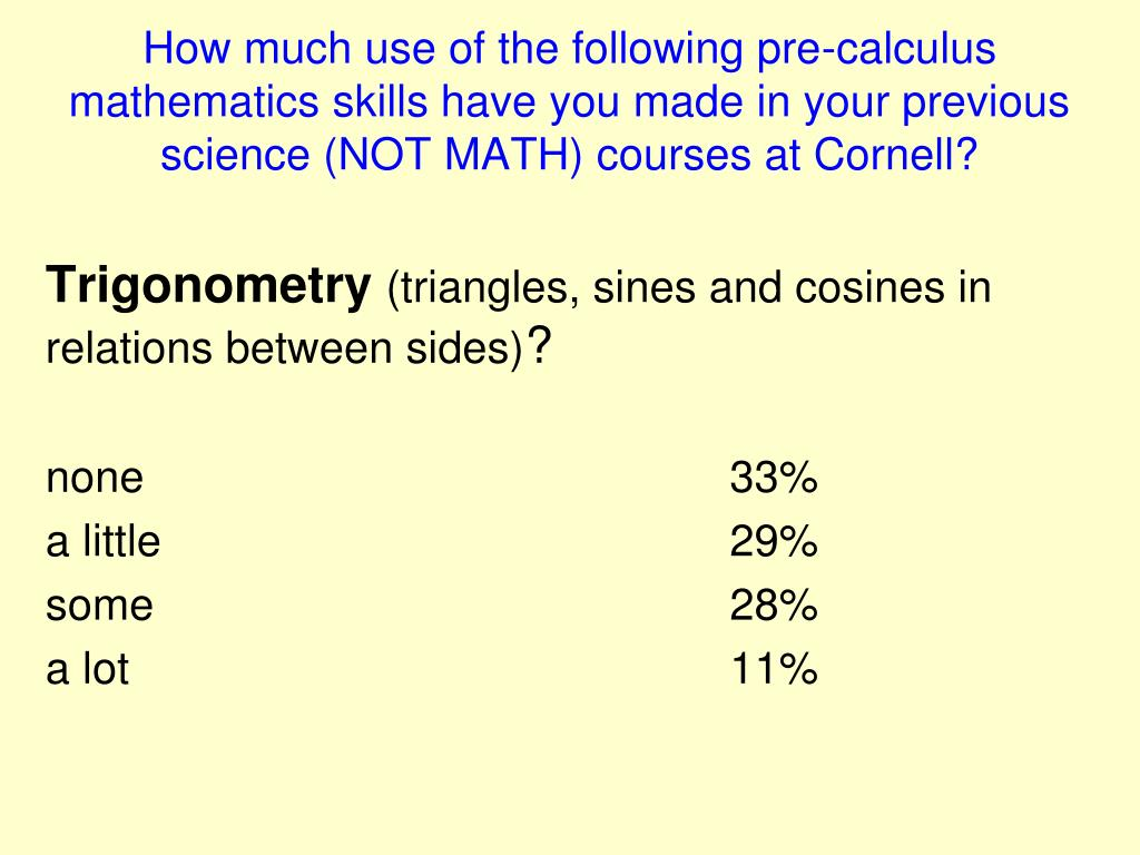 How much use of the following pre-calculus mathematics skills have you made in your previous science (NOT MATH) courses at Cornell?
