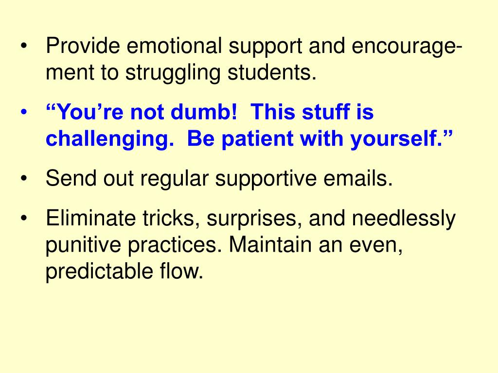 Provide emotional support and encourage-ment to struggling students.