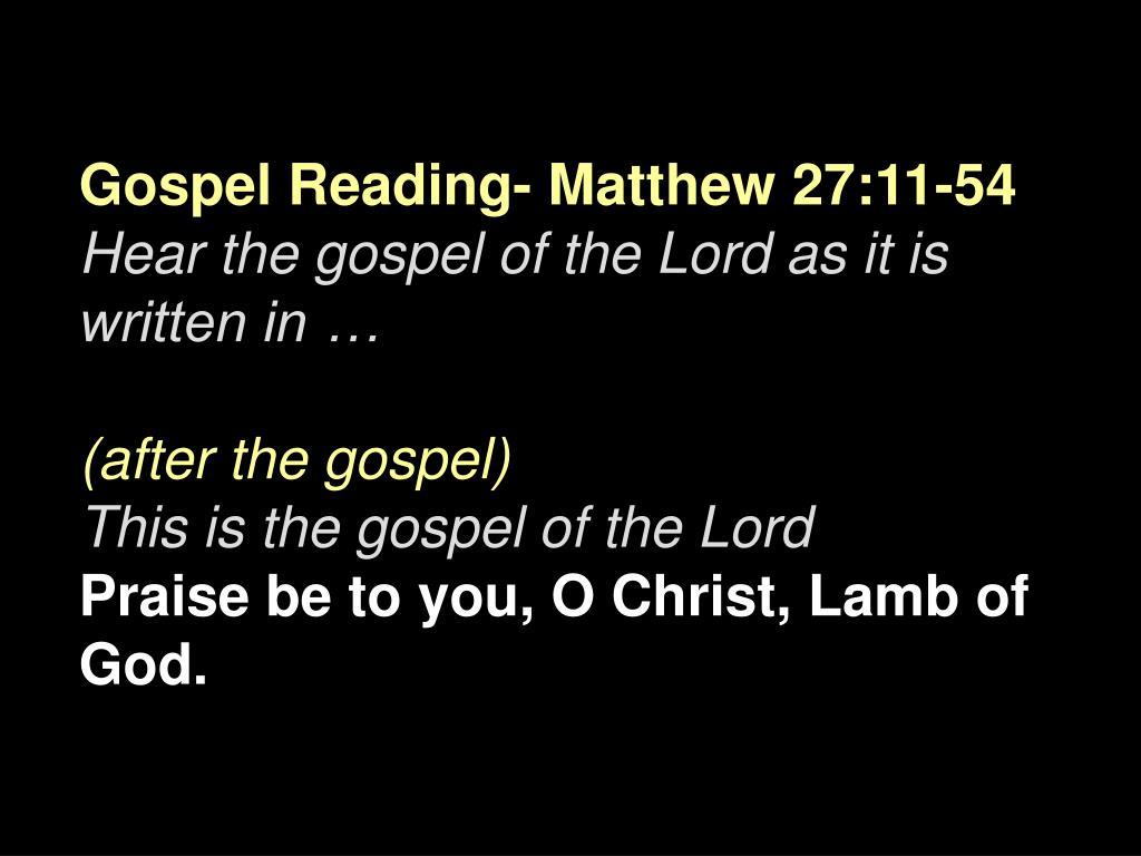 Gospel Reading-