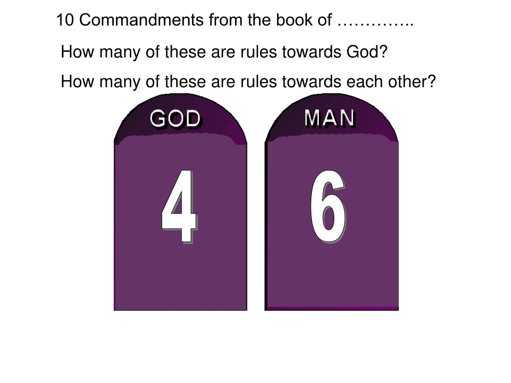 10 Commandments from the book of …………..