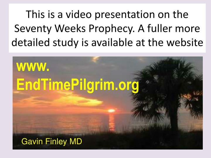 This is a video presentation on the Seventy Weeks Prophecy. A fuller more detailed study is availabl...