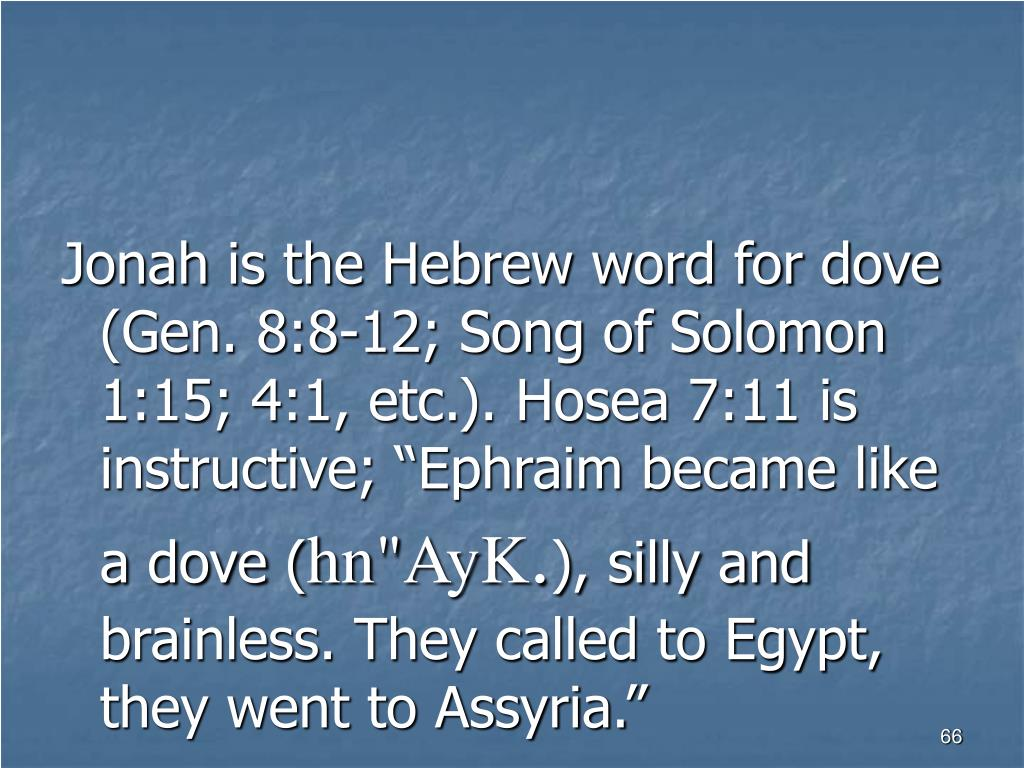 "Jonah is the Hebrew word for dove (Gen. 8:8-12; Song of Solomon 1:15; 4:1, etc.). Hosea 7:11 is instructive; ""Ephraim became like a dove ("