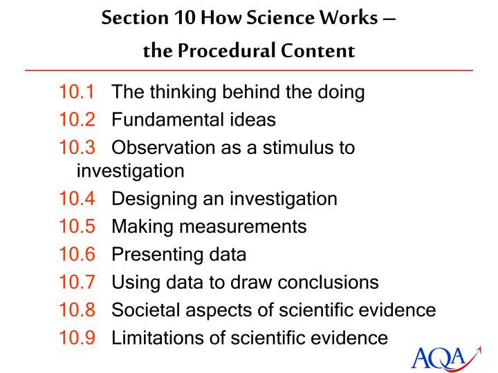 Section 10 How Science Works –