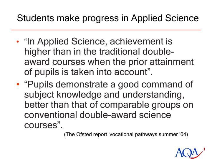 Students make progress in Applied Science
