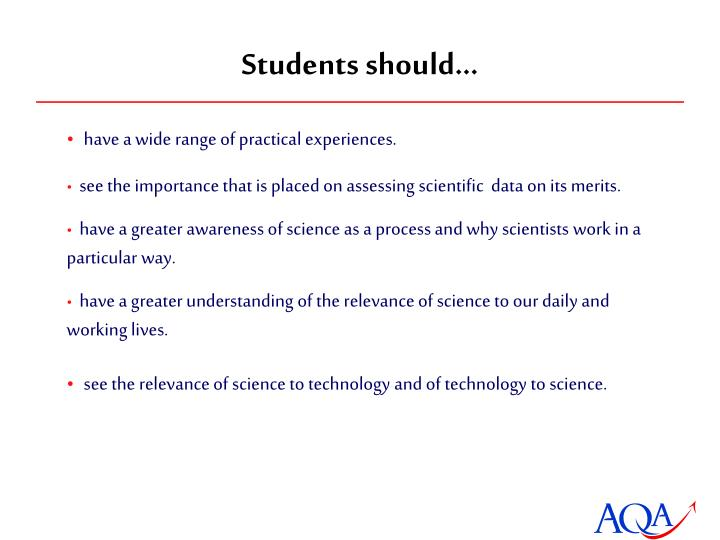 Students should…