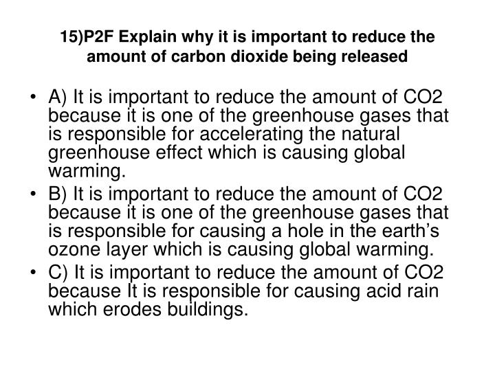 15)P2F Explain why it is important to reduce the amount of carbon dioxide being released