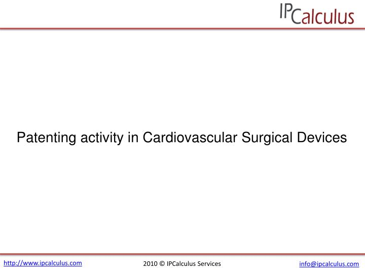 Patenting activity in Cardiovascular Surgical Devices