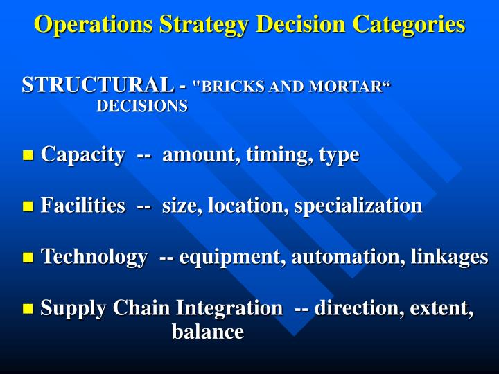 Operations Strategy Decision Categories