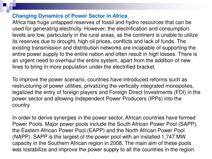 Changing Dynamics of Power Sector in Africa