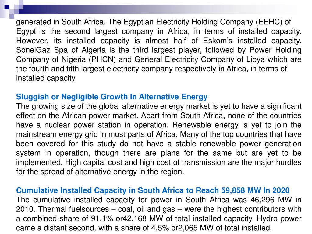 generated in South Africa. The Egyptian Electricity Holding Company (EEHC) of