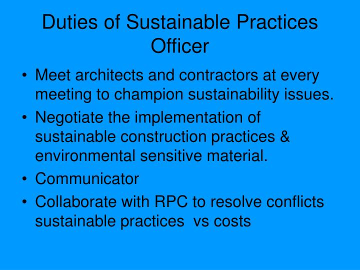 Duties of Sustainable Practices Officer