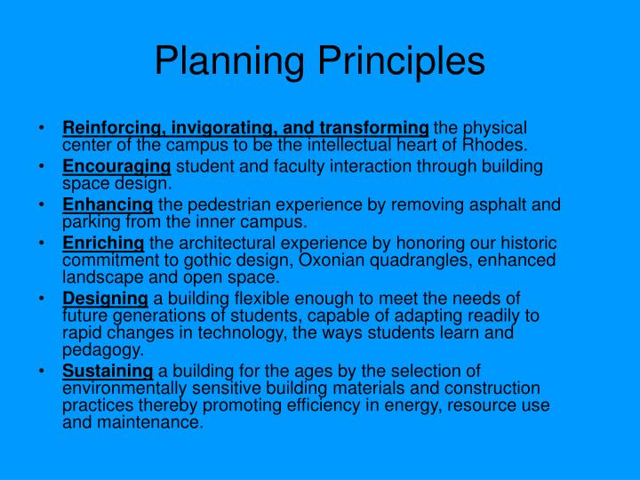 Planning principles