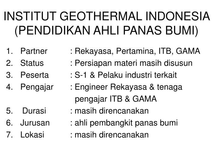 INSTITUT GEOTHERMAL INDONESIA