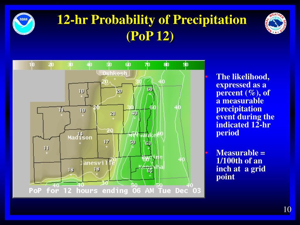 12-hr Probability of Precipitation     (PoP 12)