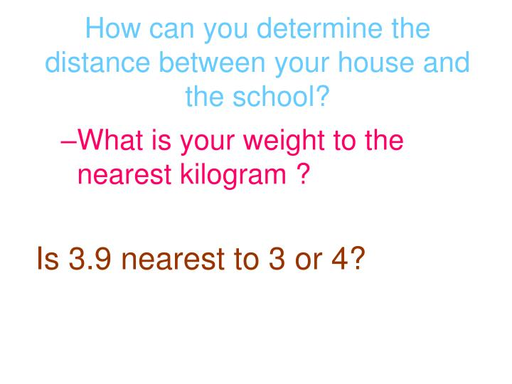 How can you determine the distance between your house and the school?