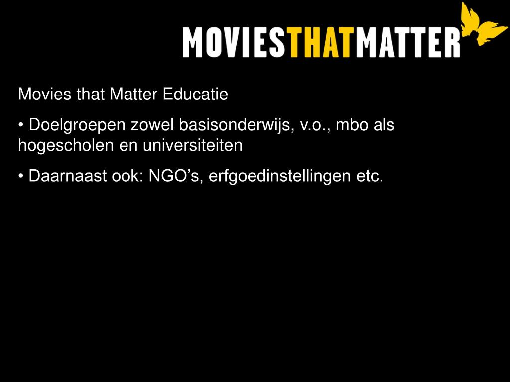 Movies that Matter Educatie