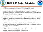 nws dot policy principles