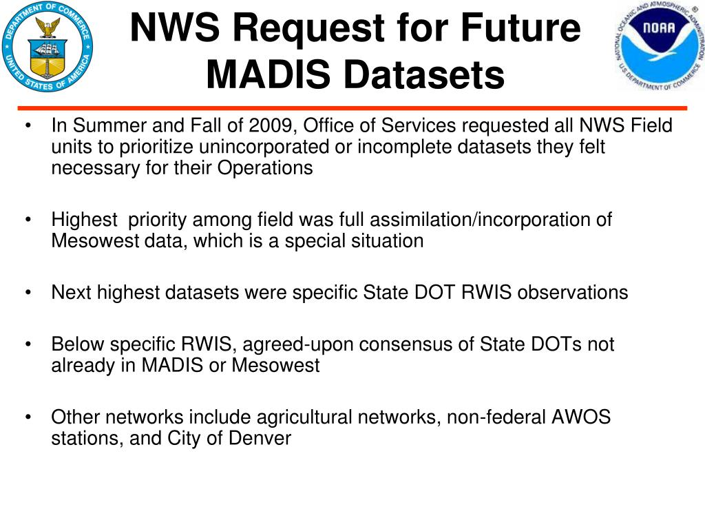NWS Request for Future MADIS Datasets