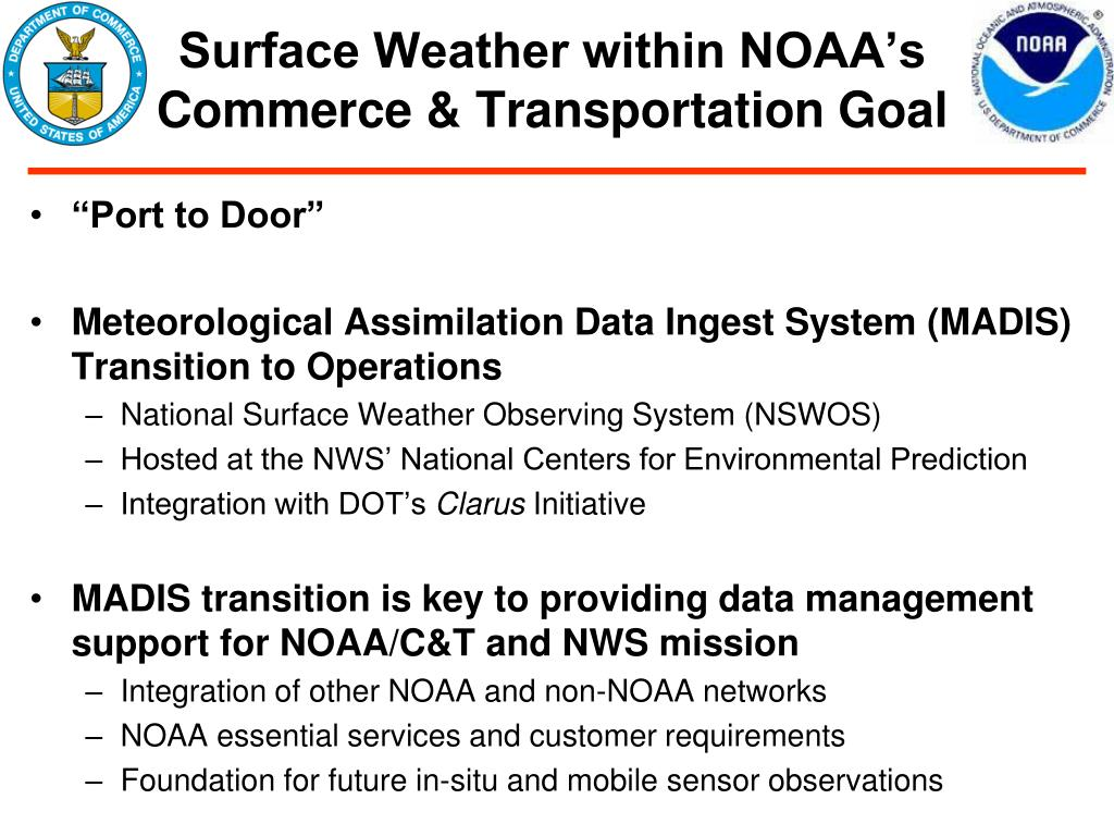 Surface Weather within NOAA's  Commerce & Transportation Goal