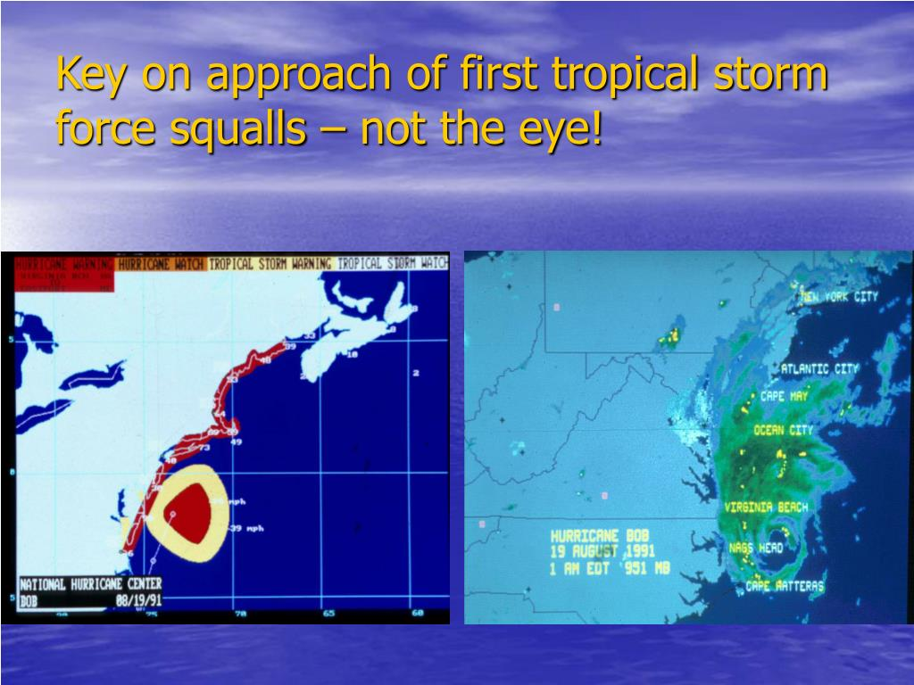 Key on approach of first tropical storm force squalls – not the eye!