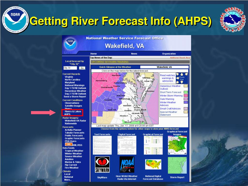 Getting River Forecast Info (AHPS)