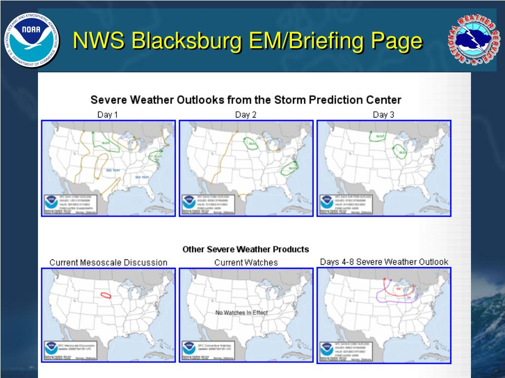 NWS Blacksburg EM/Briefing Page