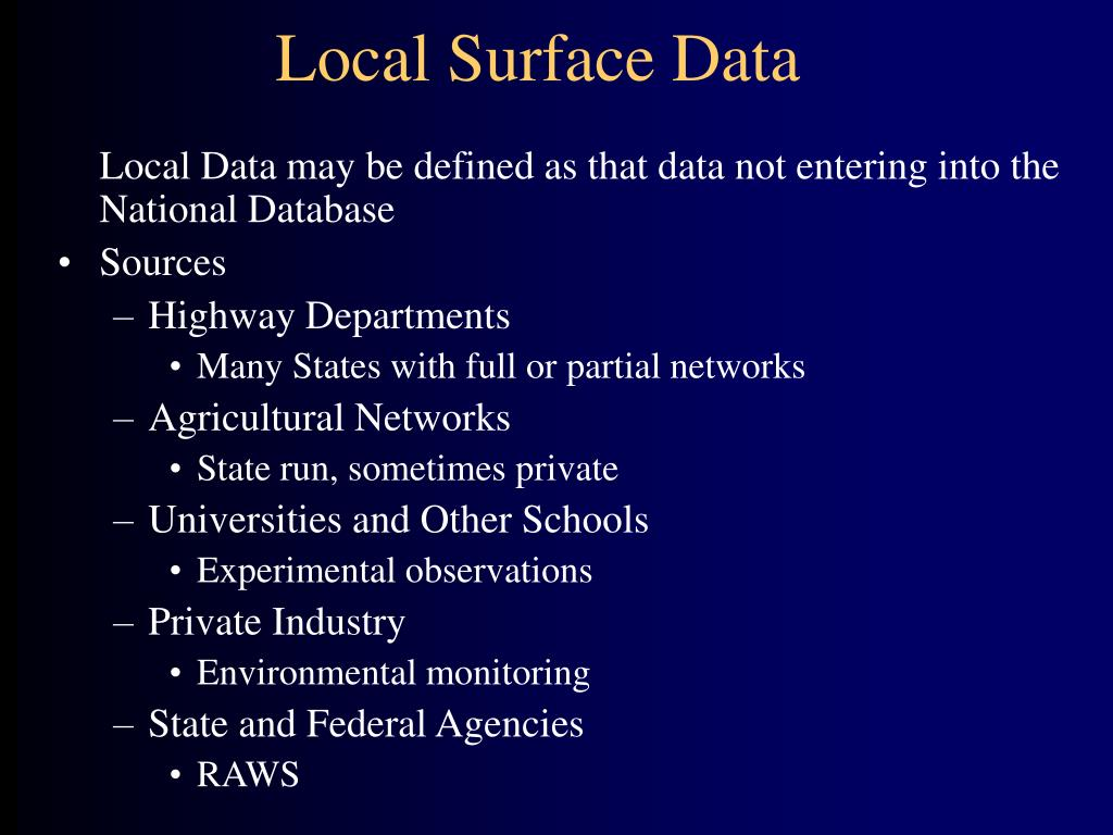 Local Surface Data
