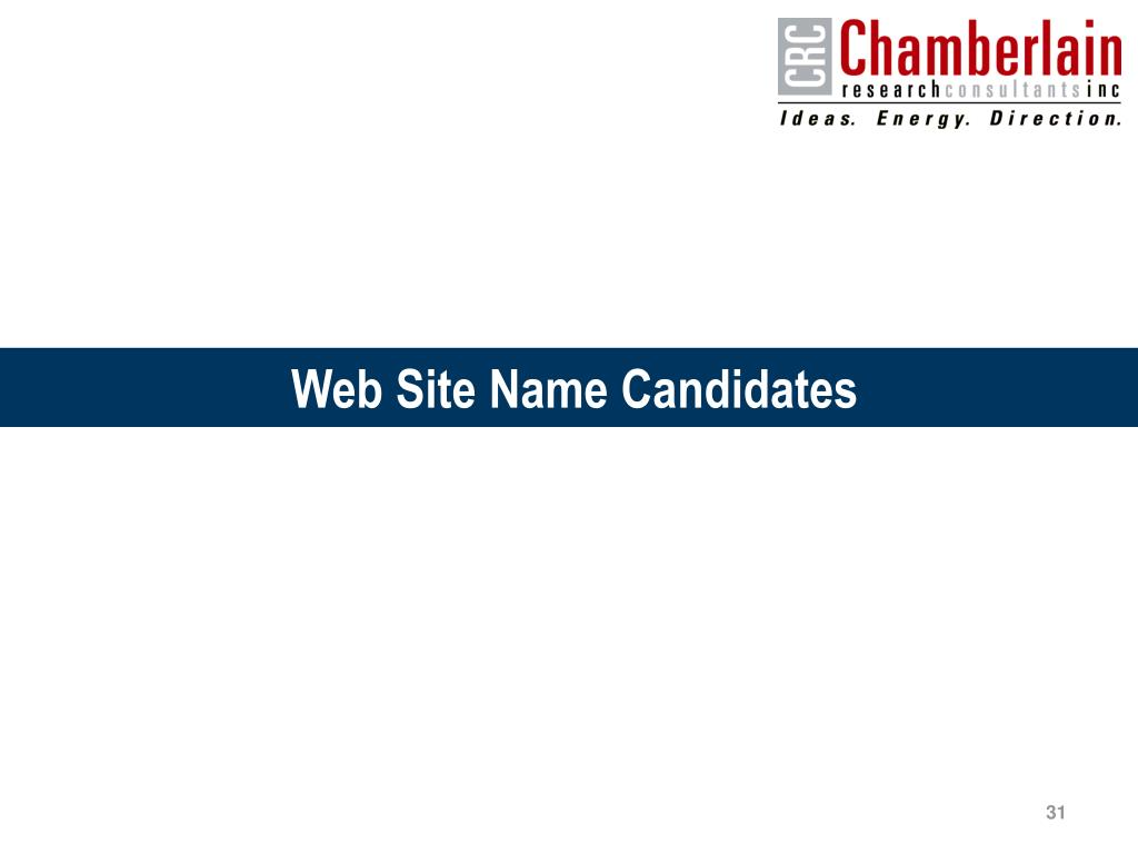 Web Site Name Candidates