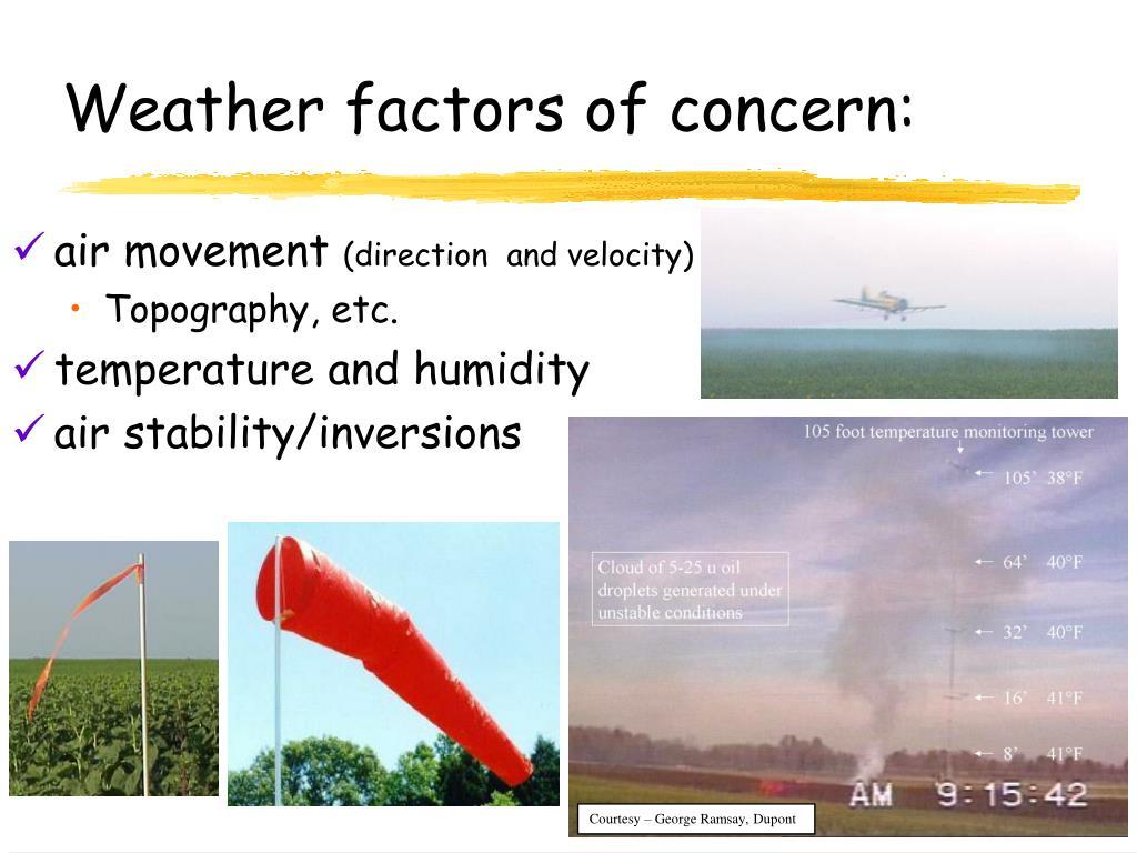 Weather factors of concern: