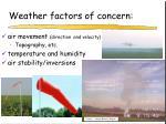 weather factors of concern